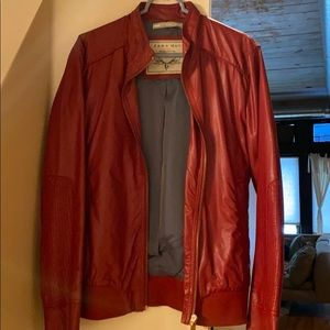 Zara men's size L fitted red leather jacket